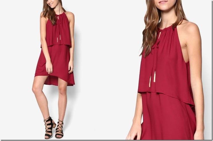 maroon-double-layer-sleeveless-dress