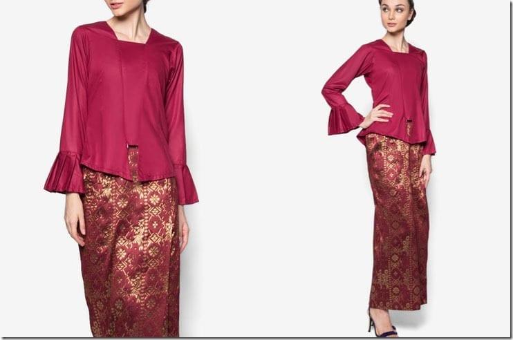 maroon-flare-sleeve-kebaya