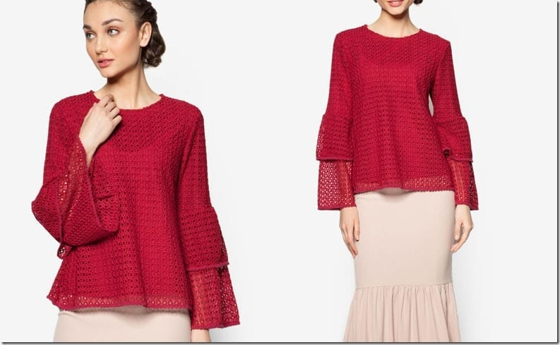 red-double-layer-eyelet-sleeve-top