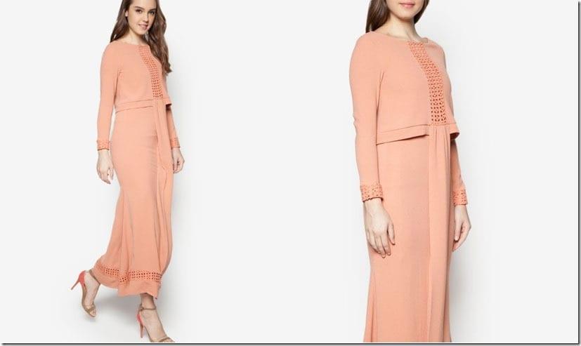 salmon-double-layered-cape-dress