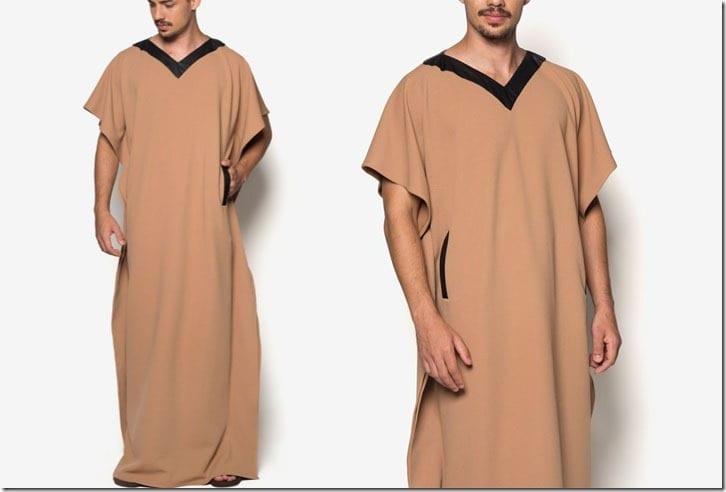 short-sleeve-brown-jubah