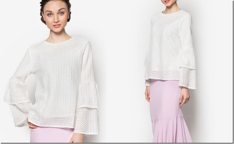 white-double-layer-eyelet-sleeve-top