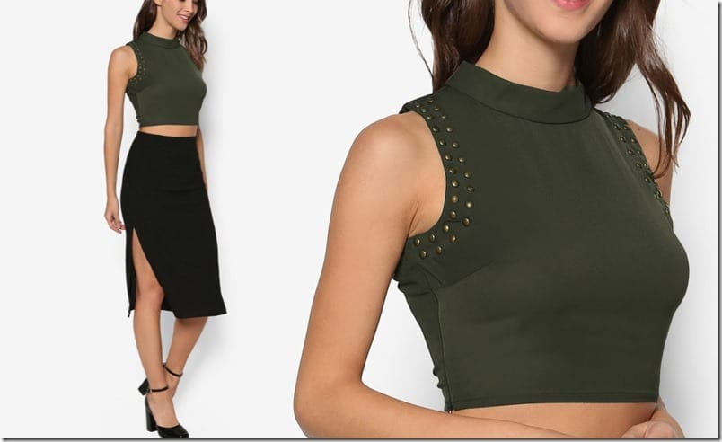 army-green-studded-crop-top