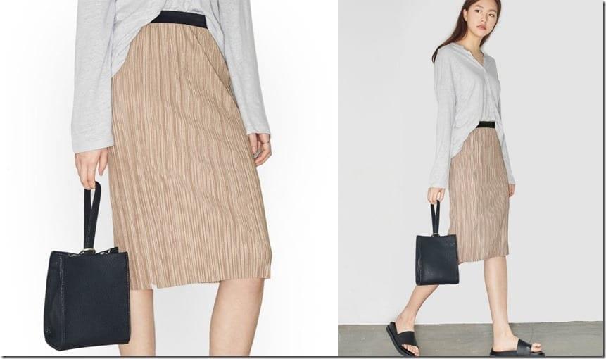 beige-pleated-midi-skirt