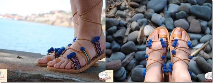 bohemian-leather-pompom-sandals