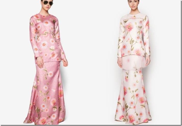Minimalist Pastel Floral Baju Kurung Ideas For Raya 2016