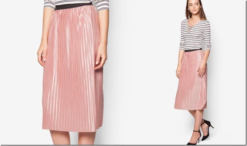 glossy-pink-pleated-midi-skirt