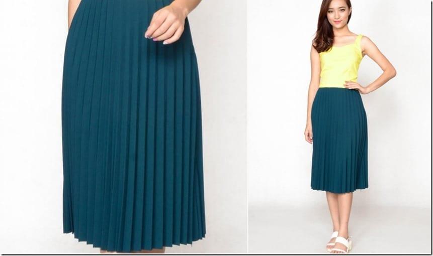 green-midi-pleated-skirt