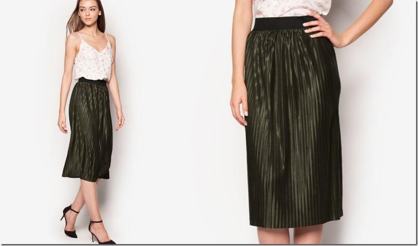 khaki-pleated-midi-skirt