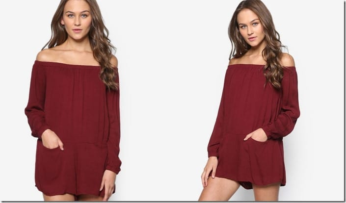 maroon-off-shoulder-romper