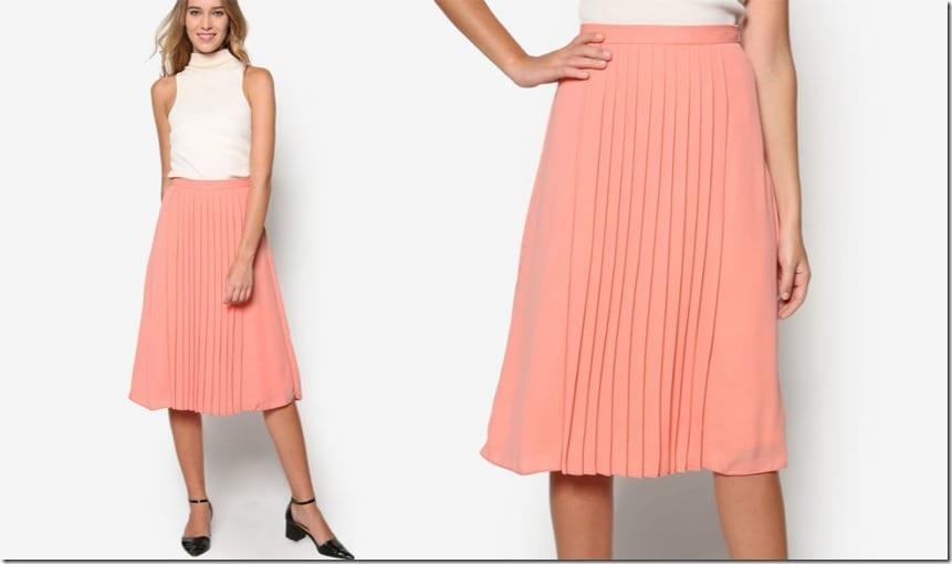 petite-coral-pleated-midi-skirt