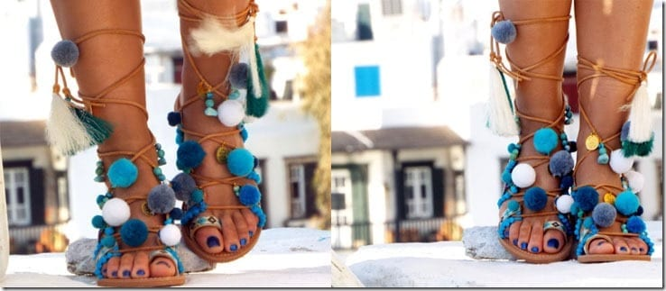 pompom-gemstone-handmade-gladiator-sandals