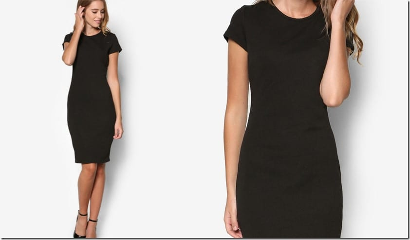 short-sleeve-black-midi-dress