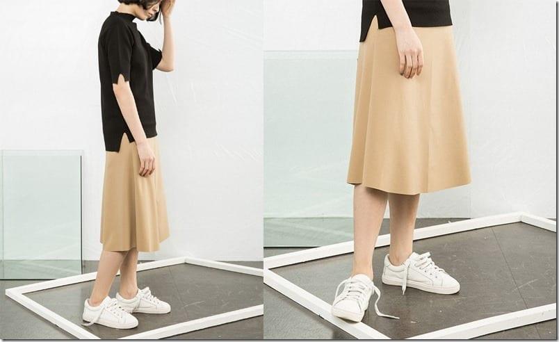 a-line-khaki-brown-midi-skirt