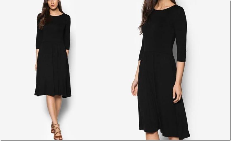 black-midi-fit-flare-dress