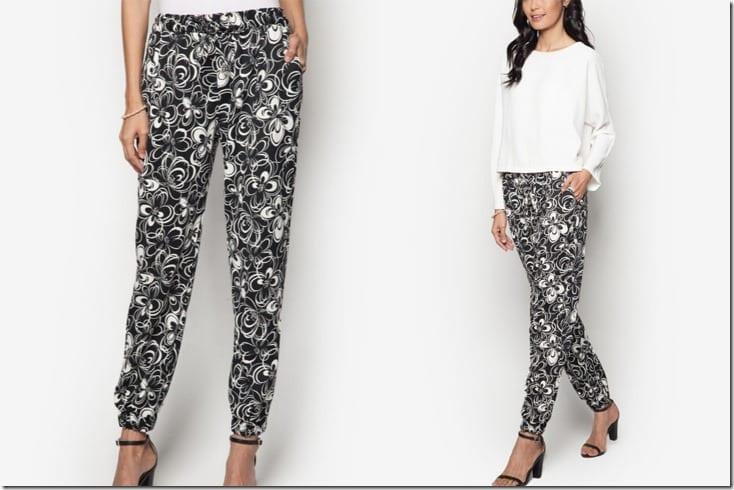 black-white-floral-pants