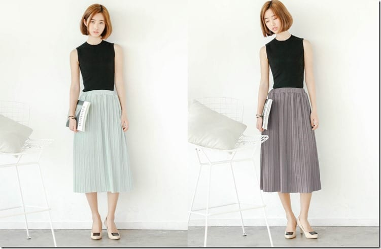 The Flared Midi Skirt Styles To Wear  ~ Pleated, Dotted + Sashed