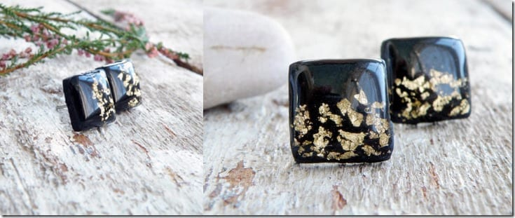 gold-black-polymer-square-stud-earrings