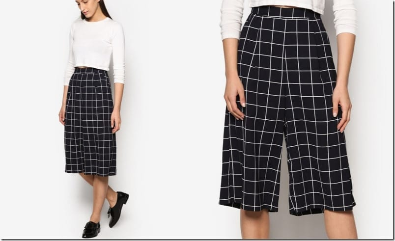 grid-print-pleated-culottes