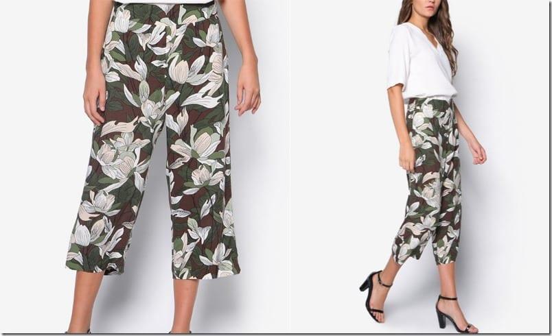 khaki-floral-print-culottes