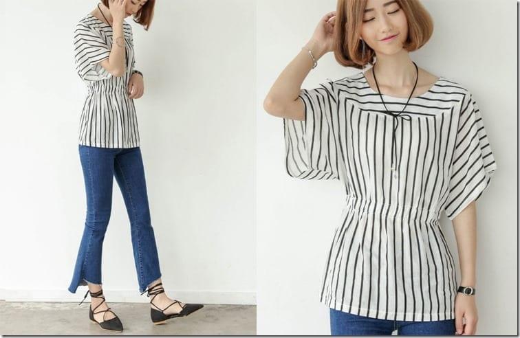 stripe-cinch-waist-blouse