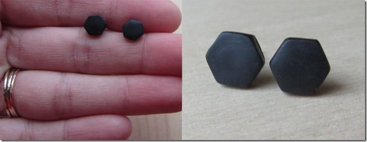 tiny-hexagon-matte-black-stud-earrings