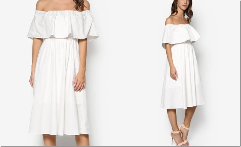 white-double-layer-off-shoulder-midi-dress