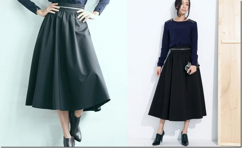 zipper-waist-black-midi-skirt