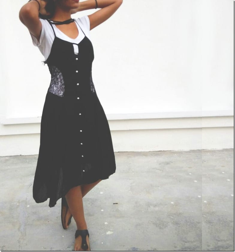 How I Do Black Lace Cami Slip Dress Layering With White Tee?