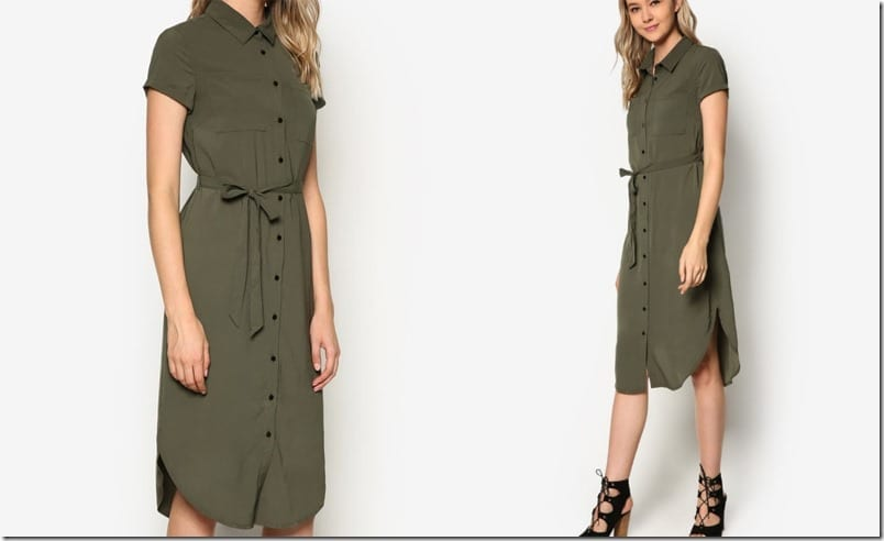 army-green-midi-shirt-dress