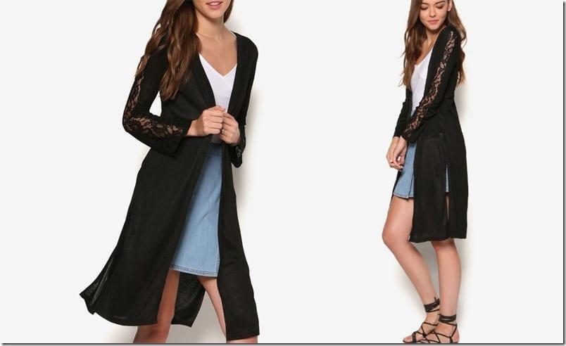 black-lace-sleeve-midi-cardigan