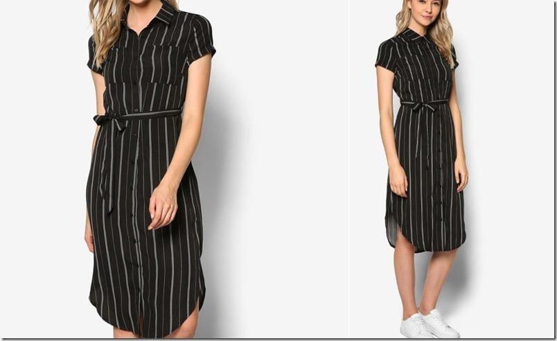 black-stripe-midi-shirt-dress