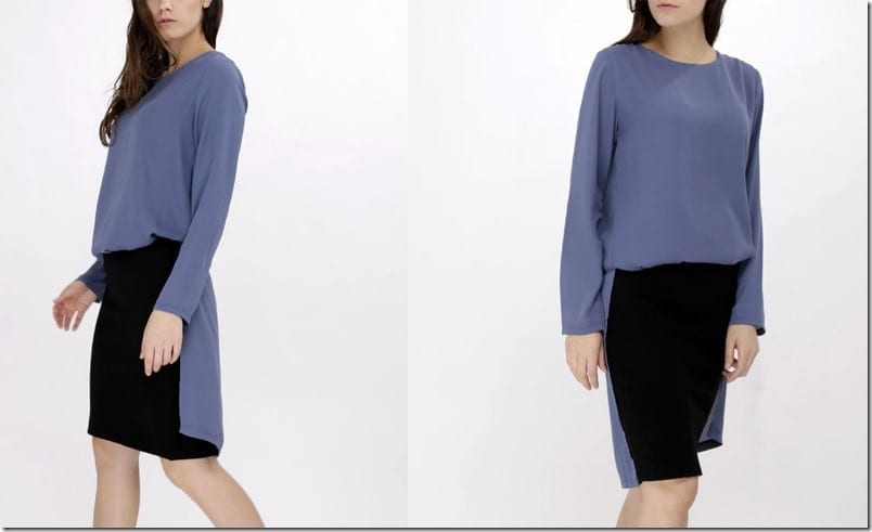 blue-chiffon-long-sleeve-slit-top