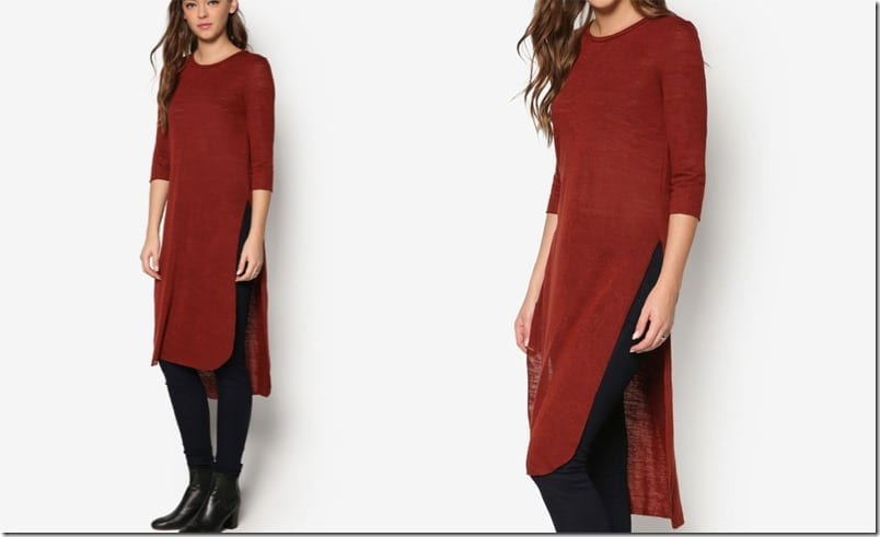 brick-red-sleeve-slit-tunic-top