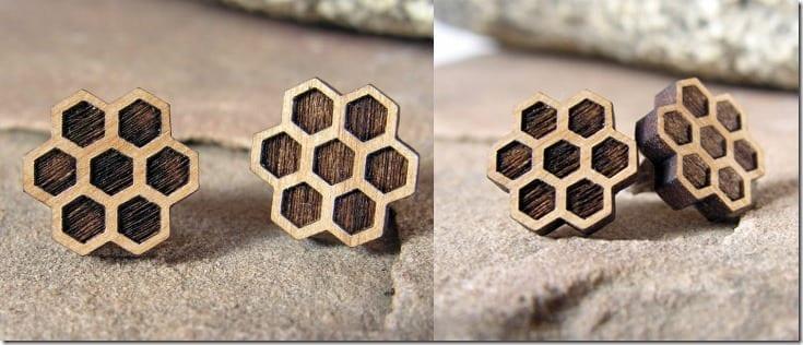 honeycomb-alder-wood-stud-earrings