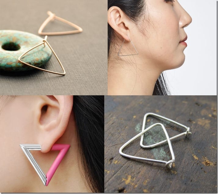 Triangular Obsession ~ Triangle Hoop Earrings Jewelry Inspiration