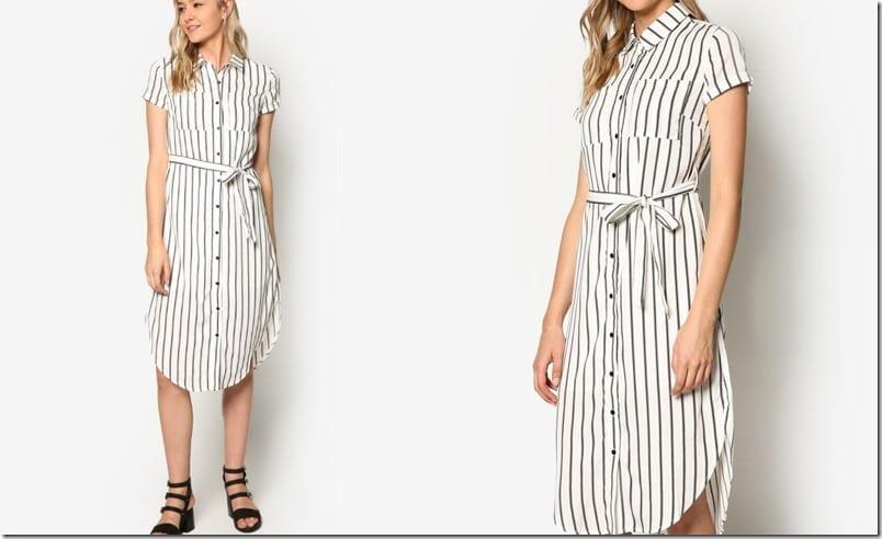 white-stripe-midi-shirt-dress