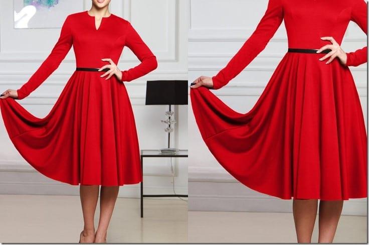 elegant-long-sleeve-red-midi-dress