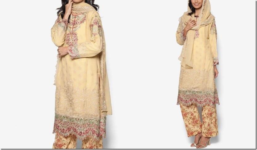 gold-chiffon-embroidered-dress-set