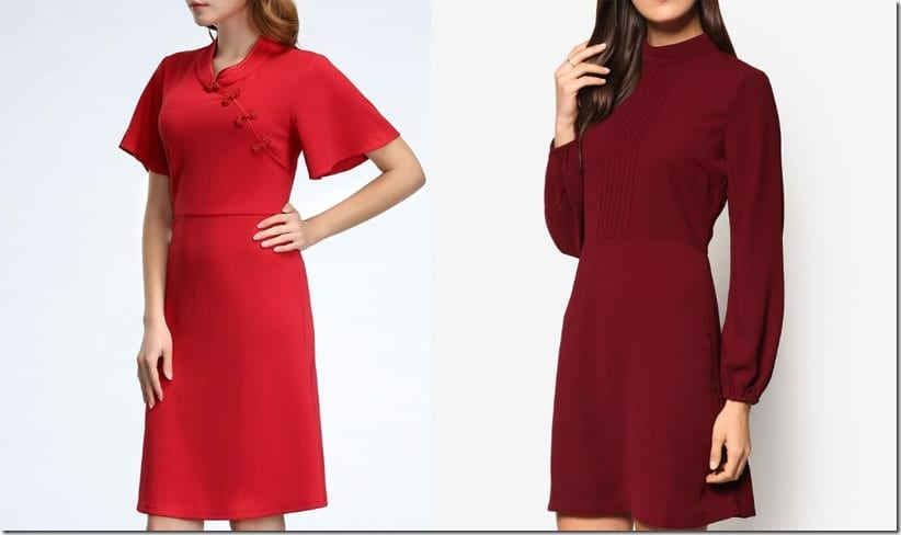High Neck Red Dress Style Ideas