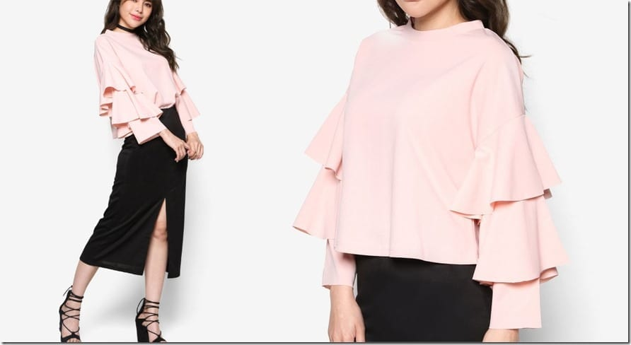 layered-ruffle-bell-sleeve-top