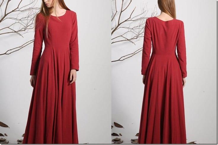 long-sleeve-red-linen-maxi-dress