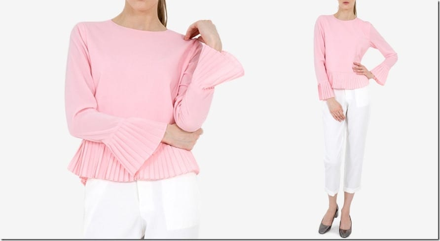 pleated-bell-sleeve-blouse