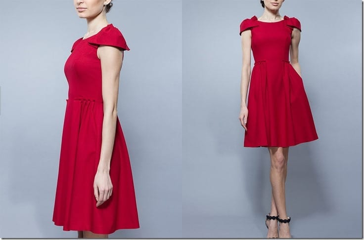 red-fit-flare-pleated-dress