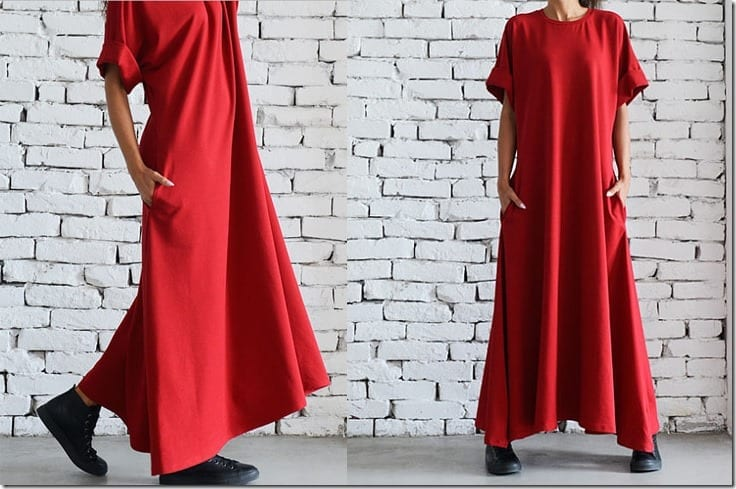 red-folded-sleeve-loose-maxi-dress