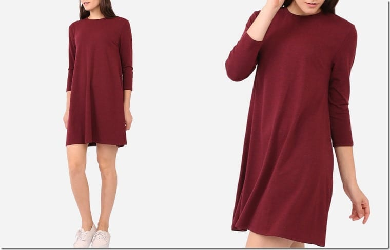 red-long-sleeve-swing-dress