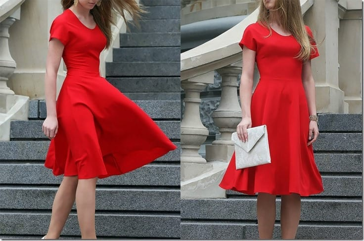romantic-short-sleeve-red-midi-dress