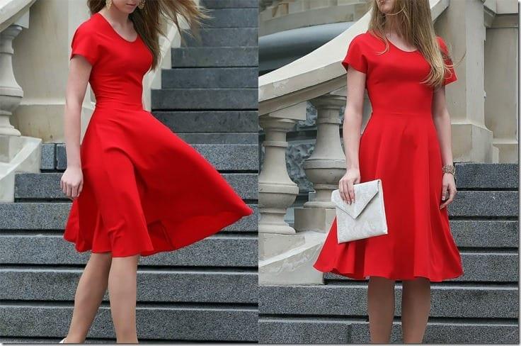 romantic-short-sleeve-red-midi-dress
