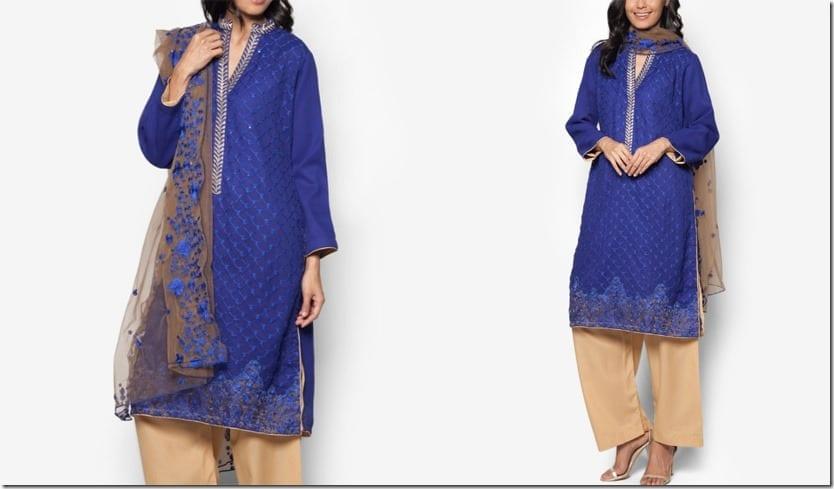 royal-blue-chiffon-embroidered-dress-set