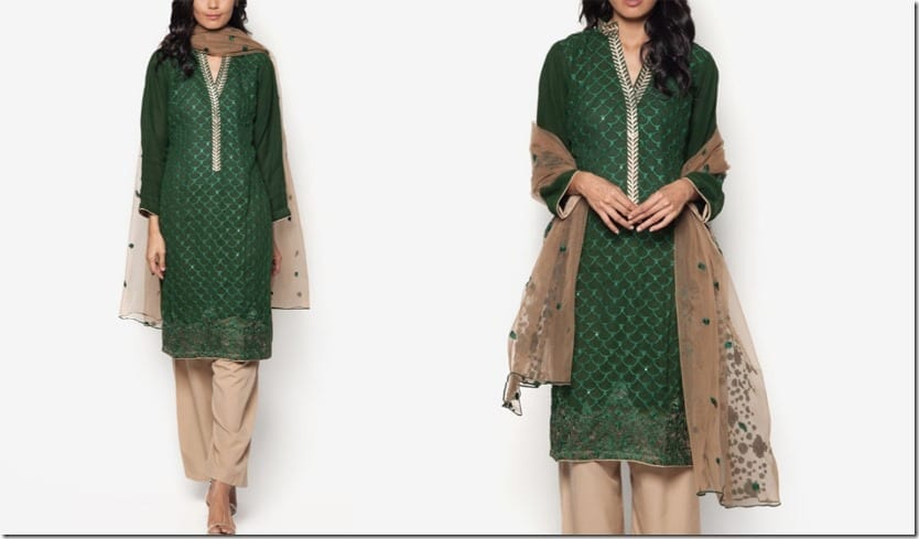 royal-green-chiffon-embroidered-dress-set